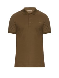 Bottega Veneta Logo Embroidered Cotton Pique Polo Shirt Khaki