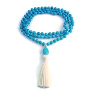 Divine Mala Turquoise Beaded Silk Tassel Necklace