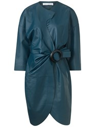 J.W.Anderson Teal Leather Curve Wrap Dress Blue