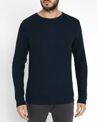 Knowledge Cotton Apparel Navy Diamond Knit Organic Round Neck Sweater Blue