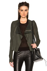 Rick Owens Nuvola Leather Low Neck Biker Jacket In Green
