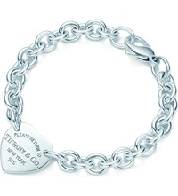 Tiffany And Co. Return To Tiffanytm Medium Heart Tag On A Bracelet In Sterling Silver