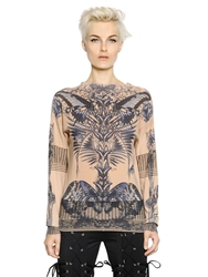 Jean Paul Gaultier Tatoo Printed Cotton Blend Sweatshirt Beige
