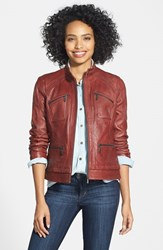Petite Women's Bernardo Four Pocket Leather Jacket