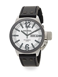 Tw Steel Ceo Canteen Stainless Steel Leather Strap Watch Silver Black