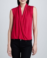 Magaschoni Sleeveless Faux Wrap Top Rose
