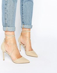 Call It Spring Argaine Lace Up Detail Pointy Pump Bone Cream