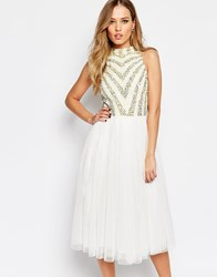 Maya Embellished 2 In 1 Midi Dress With Tulle Skirt Yellowcream