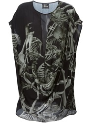Lost And Found Skeleton Print Dress Black