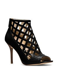 Michael Michael Kors Yvonne Open Toe High Heel Cage Booties Black