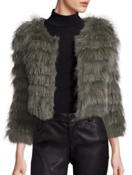 Alice Olivia Fawn Rabbit And Fox Fur Jacket Army