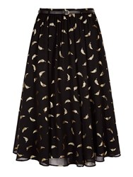 Yumi Midi Skirt With Gold Feather Print Black