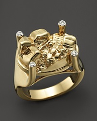 Kara Ross 18K Yellow Gold And Diamond Cast Petra Claw Ring Gold White