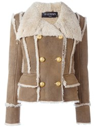 Balmain Double Breasted Shearling Coat Brown