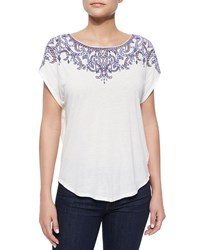 Ella Moss Rica Embroidered Front Jersey Tee White
