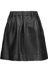 Iro Alba Wrap Effect Leather Mini Skirt Black