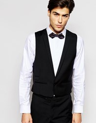 Hart Hollywood By Nick Hart 100 Wool Waistcoat With Lapel In Slim Fit Black