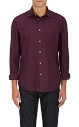 Hartford Men's Checked Cotton Shirt Burgundy