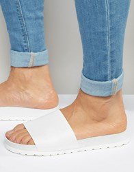 Asos Slider Sandals In White Snakeskin White