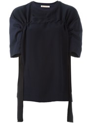 Marni Gathered Short Sleeve Blouse Blue