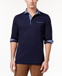Tasso Elba Men's Chambray Pocket Polo Only At Macy's Inky Night