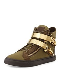 Giuseppe Zanotti Men's Military Canvas High Top Sneaker Olive Green