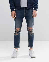 Asos Skinny Cropped Jeans With Extreme Rips In Blue Wash Mid Blue