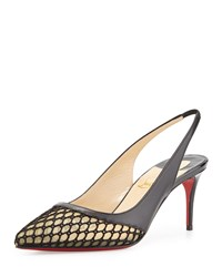 Christian Louboutin Miluna Low Heel Slingback Red Sole Pump Black
