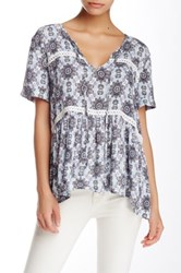 Romeo And Juliet Couture Printed Short Sleeve Blouse Blue