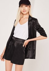Missguided Premium Satin High Waisted Shorts Black Black