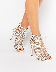 Faith Louise White Caged Ghillie Tie Up Heeled Shoe Boots White