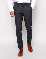 Selected Neppy Ankle Grazer Suit Trousers In Slim Fit Navy