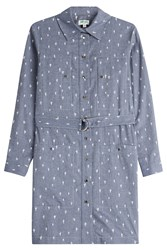 Kenzo Cotton Cactus Print Shirtdress Blue