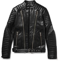 Balmain Quilted Grained Leather Biker Jacket Black