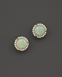 Bloomingdale's Opal And Diamond Halo Stud Earrings In 14K Yellow Gold