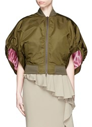 Givenchy Back Zip Bell Sleeve Bomber Jacket Green