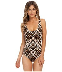 Jantzen Animale Tank Top One Piece With Strapping Black Women's Swimsuits One Piece