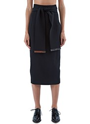 Preen Jessica Long Buttoned Vent Skirt Black