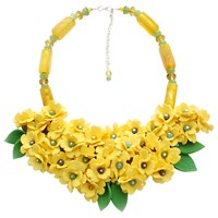 Sara Amrhein Firenze Bright Yellow Flower Statement Necklace