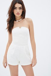 Forever 21 Strapless Notched Matelasse Romper Cream