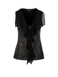 Morgan Leather Look Chiffon Ruffle Front Top Black