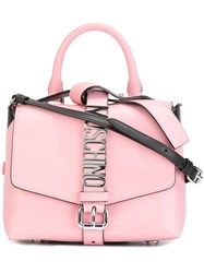 Moschino Logo Plaque Shoulder Bag Pink And Purple