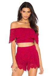 Nightcap Spanish Lace Crop Top Red
