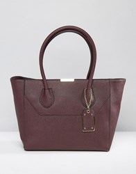 Aldo Unlined Tote Bag With Luggage Tag Oxblood Red