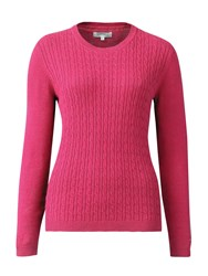 Tulchan Classic Cable Crew Neck Jumper Pink
