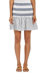 Skin Women's Striped Linen Cotton Flared Skirt White