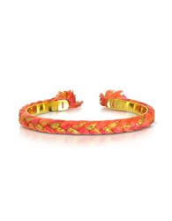 Aurelie Bidermann Copacabana Gold And Geranium Cotton Thin Bangle Fuchsia