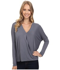 Bobeau Evie Surplice Knit Top Slate Women's Long Sleeve Pullover Metallic