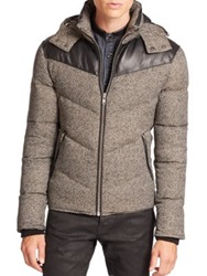 The Kooples Leather Trimmed Down Jacket Grey