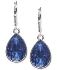 Nine West Silver Tone Faceted Teardrop Earrings Silver Blue Waters
